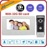 New 7 inch Video Doorbell Intercom System 800TVL IR Night Vision Camera Door Bell Video Recorder Intercom Doorphone +32G SD card