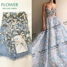 Небесно Голубой 3D цветок кружевная ткань с аппликацией ткань Африканский высокое качество петлевая вышивка тонкой сеткой Индии Вечеринка платье Гипюр кружево