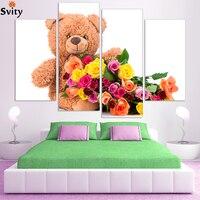דוב קוטב פרח צבעוני משלוח חינם בד הדפסת אמנות פוסטר, תמונות קיר לילדים חדר שינה, סיטונאי ללא מסגרת