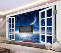 3d Room Wallpaper Custom Mural Non Woven Photo Window Fantasy Meteor Sky Painting Picture 3d Wall