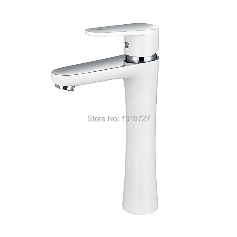 Modern Style White&Chrome 100% Solid Copper Hot And Cold Wels Patent Design Tall Basin MIxer Tap High Quality Wash Vessel Faucet micoe hot and cold water basin faucet mixer single handle single hole modern style chrome tap square multi function m hc203