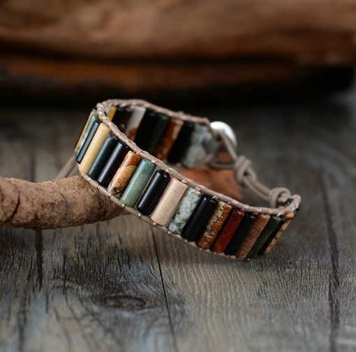 ייחודי Boho צינור צורת טבעי אבנים אחת עור גלישת צמידי עבודת יד בוהמי אריגת צמיד תכשיטי עור