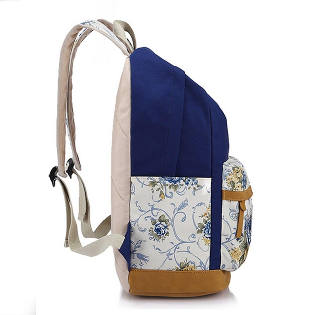 AEQUEEN Canvas Women Backpacks Girls School Bag Floral Korean ...