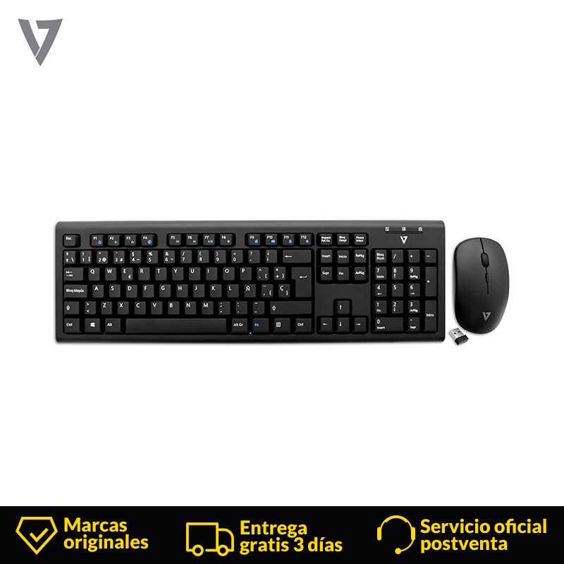 V7 Spanish Wireless Keyboard & Mouse,Mechanical Keyboard Computer RF Wireless USB Black Gaming Mouse For Tablet Pc Ipad Smart Tv