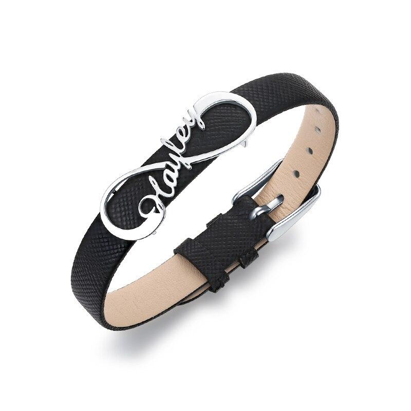 AILIN personnalisé dame élégant nom Infinity Bracelet en cuir pour ses femmes en cuir véritable Infinity bijoux pour cadeau d'anniversaire