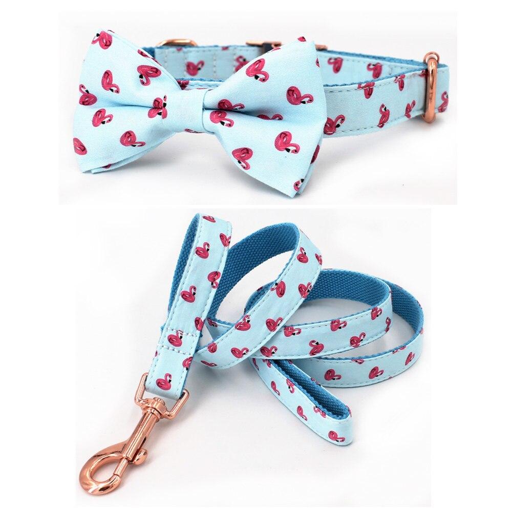Verão flamingo coleira de cão e trela set com gravata borboleta para o grande e pequeno cão tecido de algodão colar em ouro rosa fivela de metal