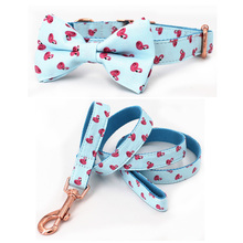 summer flamingo dog collar and leash set with bow tie for big and small dog cotton fabric collar rose gold metal buckle