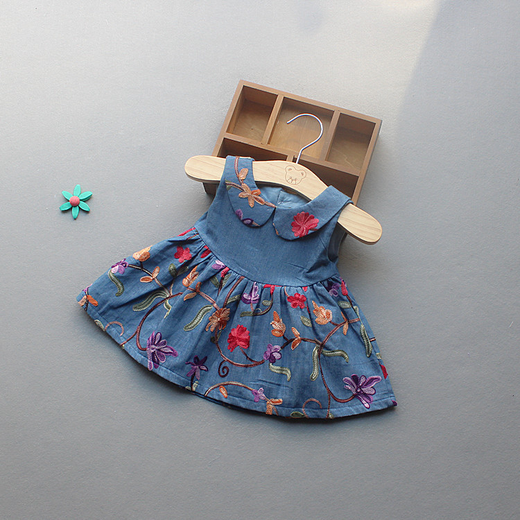 Sweet Babys Denim Dress Princess Casual Dress Toddle Embroidery Sundress England Kids Floral Clothes For 1-3Y Free Shipping