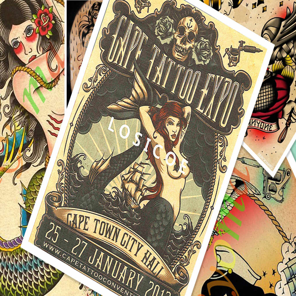Творческий татуировки узор рукопись Винтаж Kraft Бумага плакат Настенные наклейки, живопись Body Art татуировки Парикмахерская украшения F