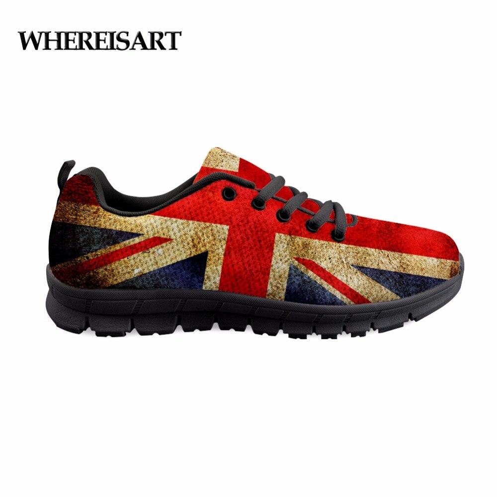 WHEREISART UK USA Flag Printed Men Casual Shoes Spring/Autumn Cushioning Light Erkek Ayakkabi Students Boys Lace-Up Flat Shoes