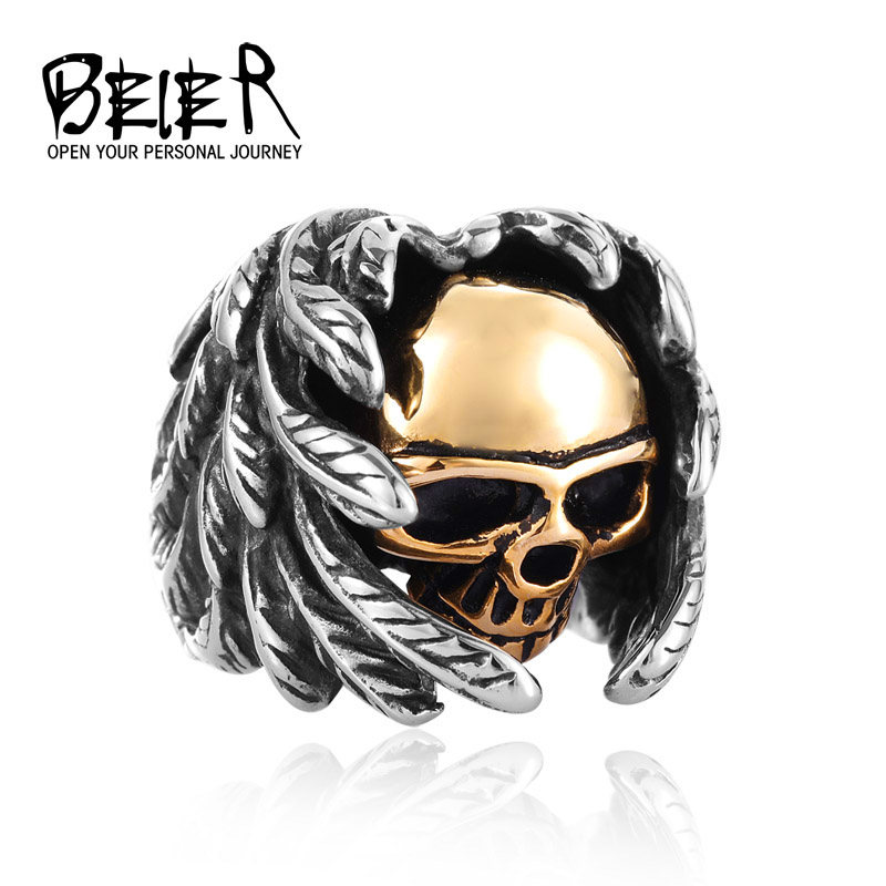 Beier Cool Part Winged For Man Rustfrit Stål Punk Mands Højkvalitets Skull Smykker Ring BR8-365