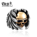 Beier Cool Part Winged For Man Stainless Steel Punk Man's High Quality Skull Jewelry Ring BR8-365