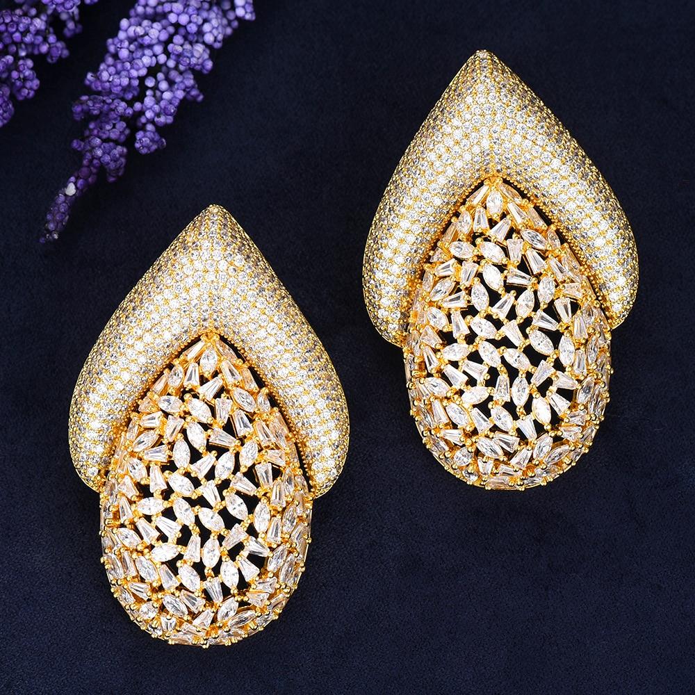 5 couleurs plein AAA cubique zircone charme boucle d'oreille femme luxe grand boucles d'oreilles bijoux dames cadeau femmes accessoires - 2