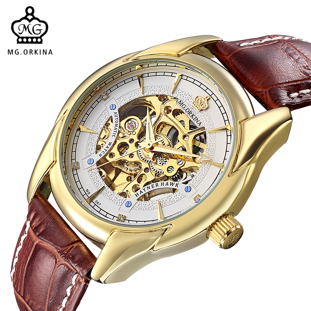 цена на MG. ORKINA 2016 New Design Black Golden Clock Mens Watches Top Brand Luxury Mechanical Skeleton Watch Male Wrist Watch Horloges