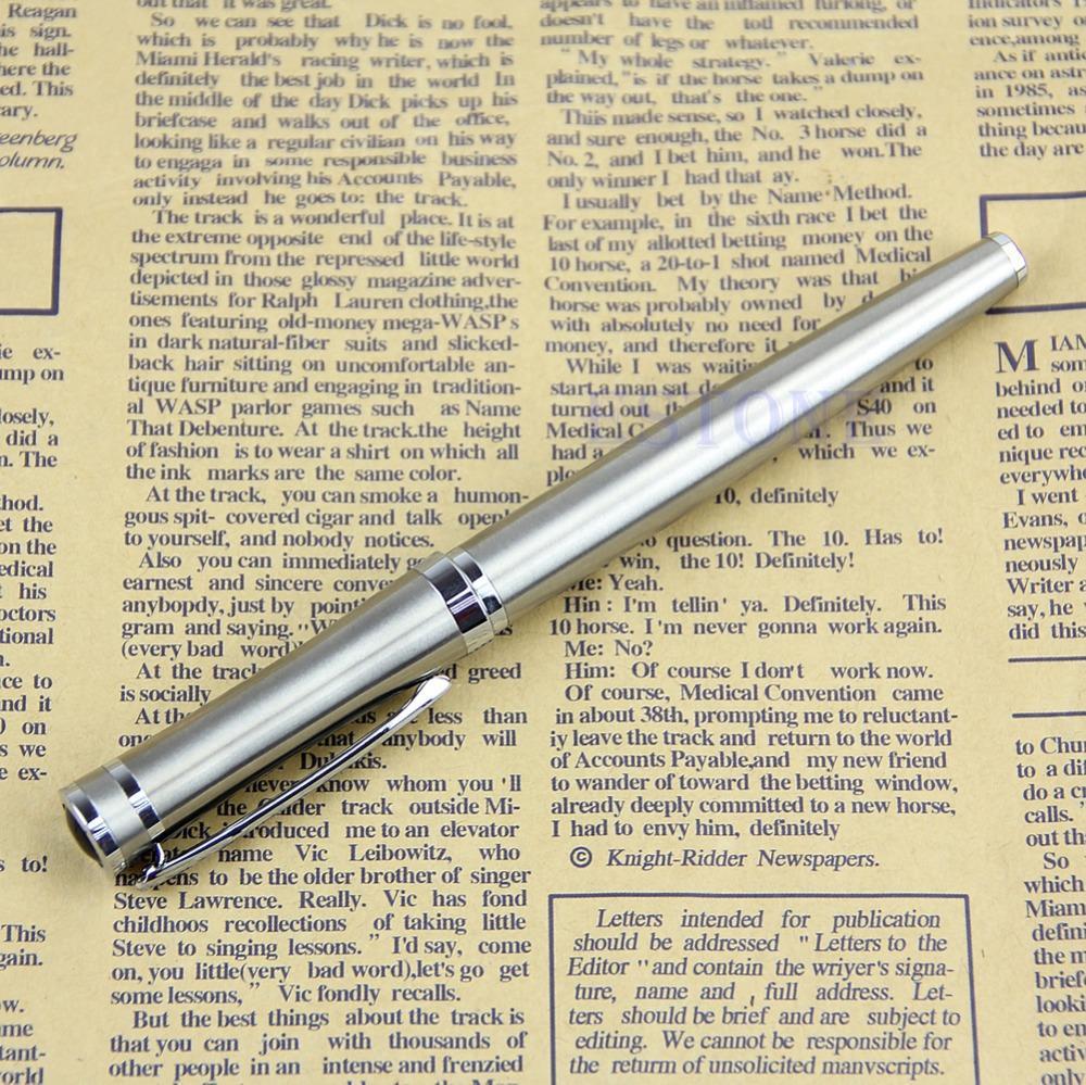 Бесплатная доставка Baoer 3035 Нержавеющаясталь металла Silver Medium перьевая ручка