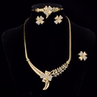 Flower Wedding Engagement Jewelry Sets African Bead Chain Fashion Gold Bow Necklaces Bracelet Earing Ring Set