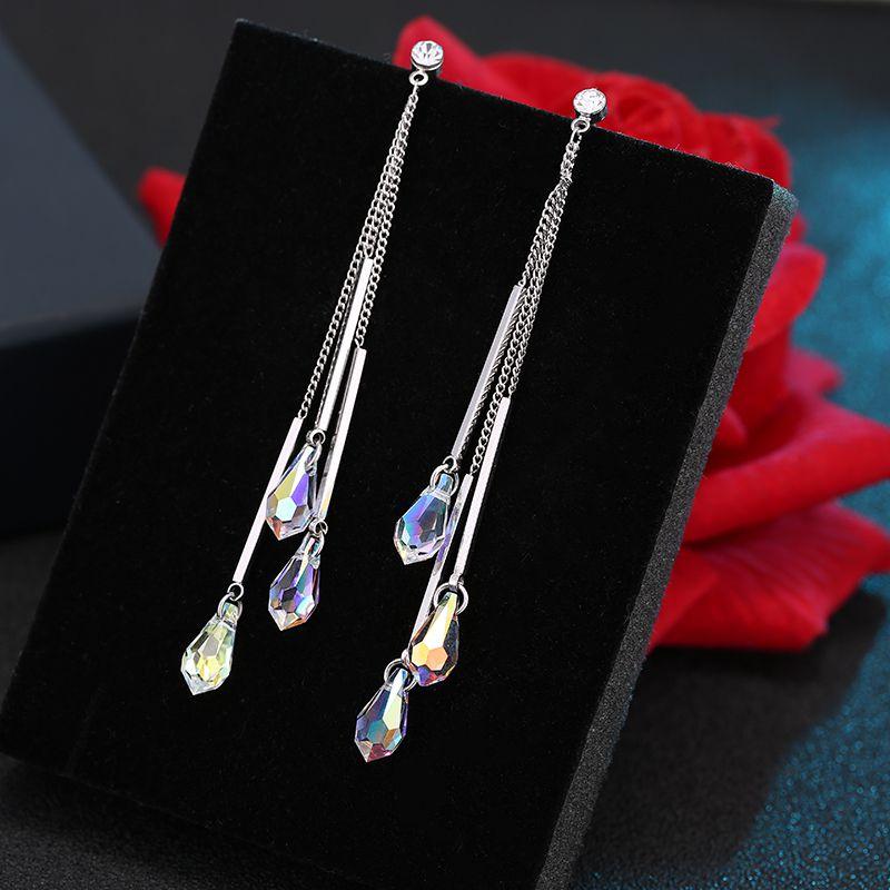 Simple Water Drop Temperament Crystal Women Drop earrings Fashion joker tassel metal long earrings