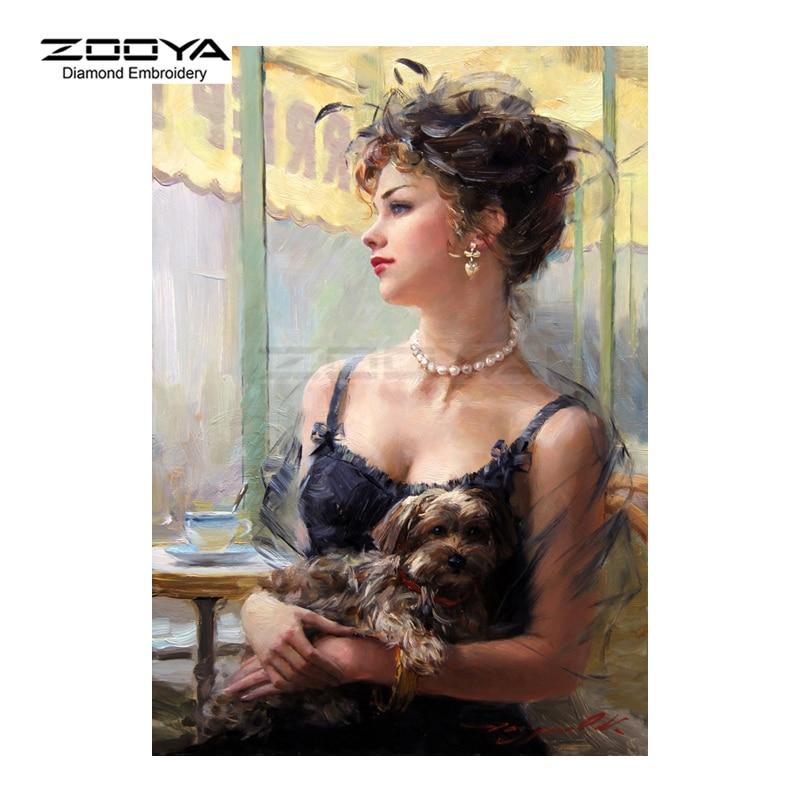 Алмазная вышивка ZOOYA 5D DIY Алмазная картина женщина и собака животное Алмазная Картина Вышивка крестом Стразы Украшения CJ754
