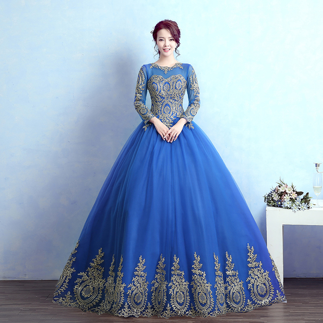 luxury long sleeve blue hot pink golden embroidery ball gown medieval  Renaissance Gown queen Dress Victoria Antoinette Belle 73736414826c