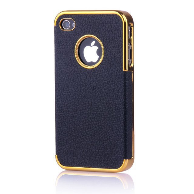 premium selection 9e805 aa3cd US $2.99 |Case For iphone 5 5s 4 4s,Luxury Leather + Gold Plated Plastic  Hard back cover Frame for Apple iphone 5s 5 4s 4 mobile phone bag on ...