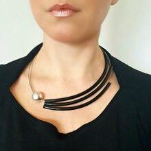 99cbcf677f6c Diseño Simple de la promoción de las mujeres Collar de perlas simuladas  Collar dama regalo femenino Venta caliente estilo europe.