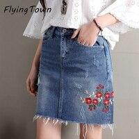 FlyingTown Short Denim Skirt Broken Hole Women Mini Jeans Skirt Floral Embroidery Skirt With Pocket Lady