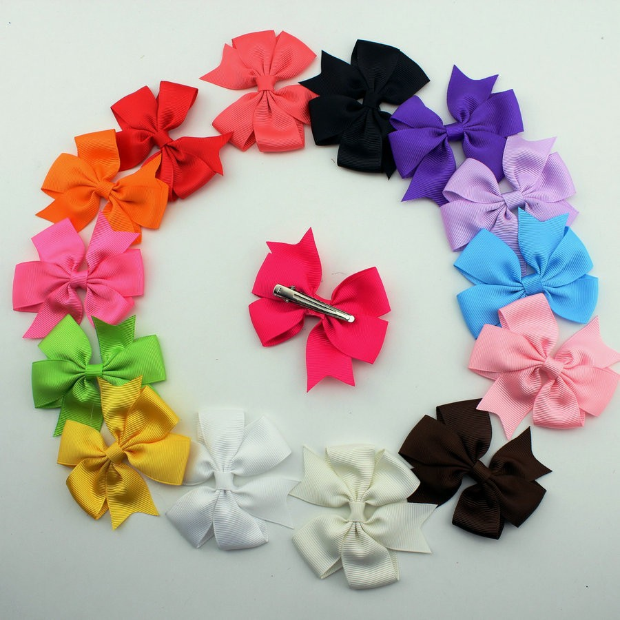 2015 Ribbon Baby Korean Boutique Hair Bows with Clips Fashion Hair Clips for Girl Hair 15 color Woman Hair pins 30pcs/lot