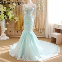 Colorful Mermaid Wedding Dresses For Russian Girls Cheap Summer Garden Sexy Sweetheart Crystal Lace Long Corset