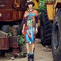 Новый 2016 Vestidos Майка Платье Хип-Хоп Танец Длинные Женщины Платья Печати Граффити Плюс Размер Женской Одежды