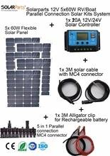 Solarparts 5x60W DIY RV/Boat Kits Solar System 5 x60W flexible solar panel 1x 20A solar controller 1 set 3M MC4 cable 1 set clip