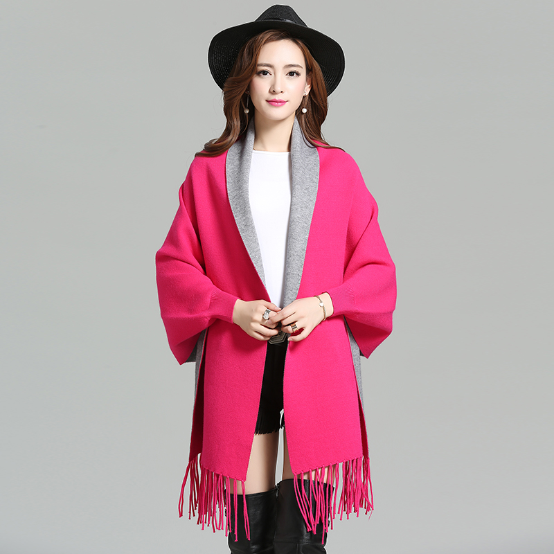 2016 New fashion Solid Color Women Cloak Cape Fringed Bat Sleeve Shawl Sweater Cardigan ...