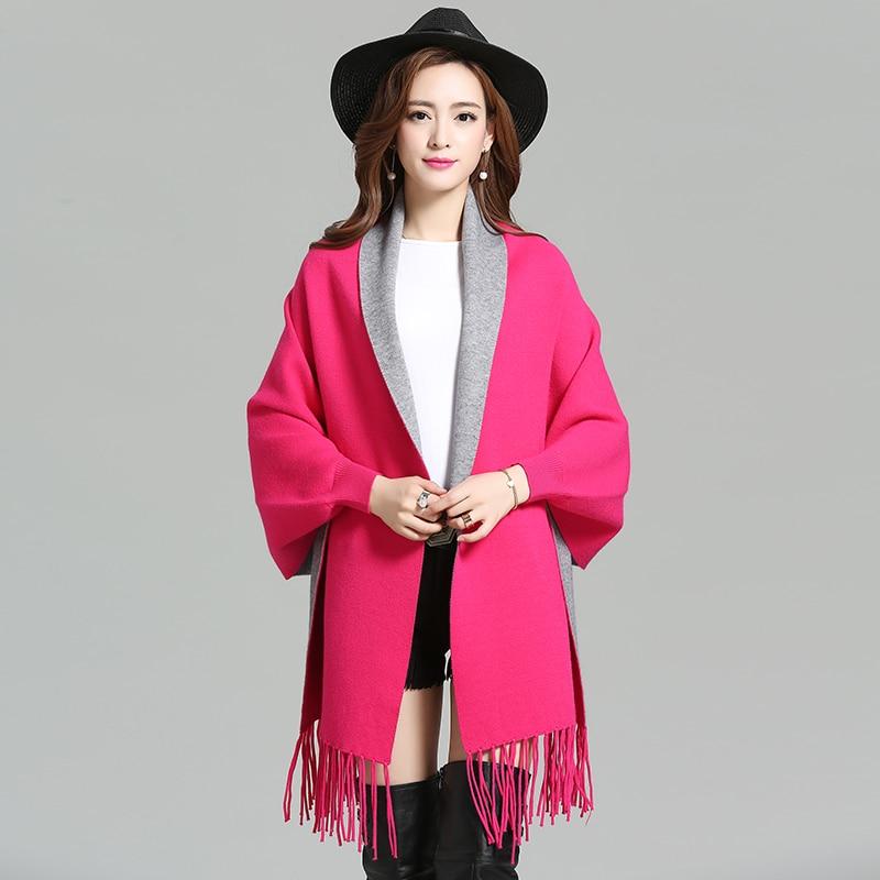 2016 Neue Mode Einfarbig Frauen Mantel Cape Säumte Fledermaus Ärmel Schal Pullover Strickjacke Und Ein Langes Leben Haben.