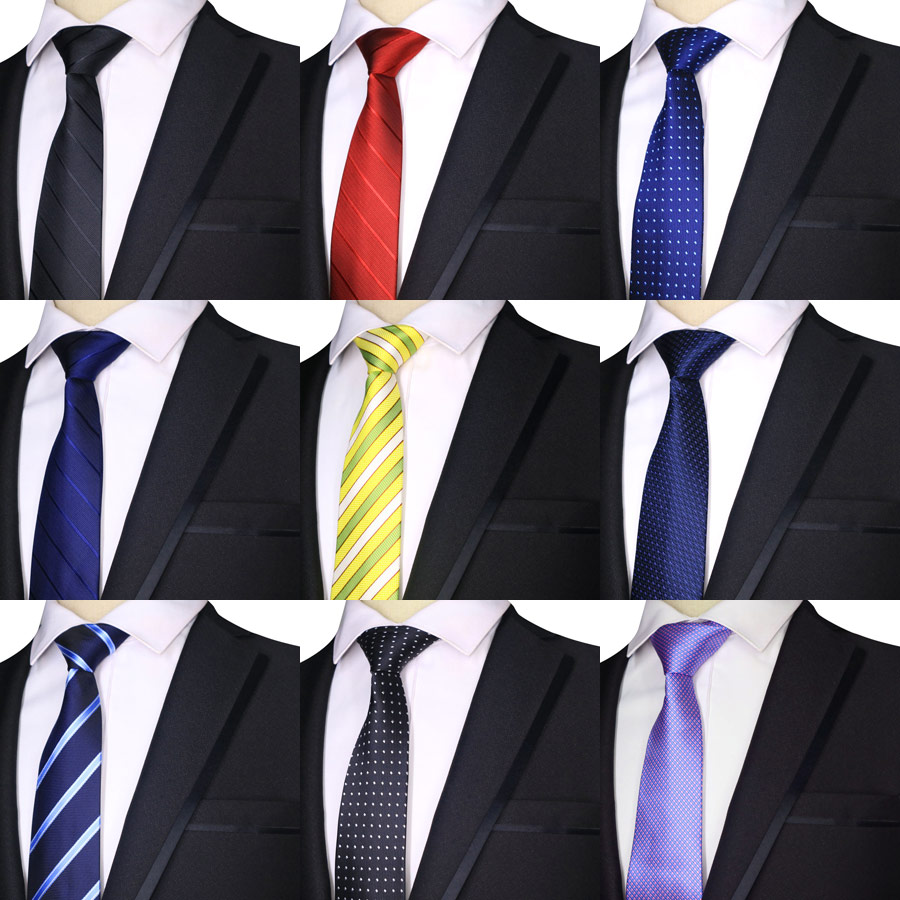 2019 Fashion 7CM Mens Ties Polyester Silk Stripes Dots Solid Blue Black Formal Bridegroom Wedding Business Man Necktie Neck Tie