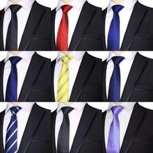 2019 Fashion 7CM Mens Ties Polyester Silk Stripes Dots Solid Blue Black Formal Bridegroom Wedding Business Man Necktie Neck tie