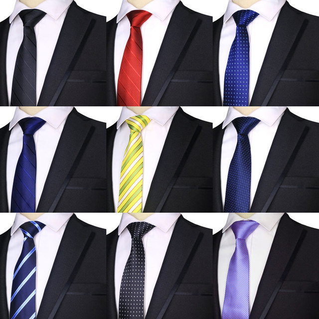84328be19644 2019 Fashion 7CM Mens Ties Polyester Silk Stripes Dots Solid Blue Black  Formal Bridegroom Wedding Business