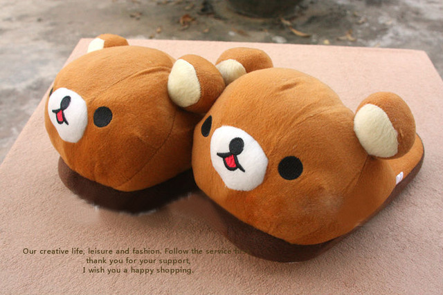 Rilakkuma Bear cartoon plush slipper 11inch rilakkuma bear slippers oragne color Free Shipping