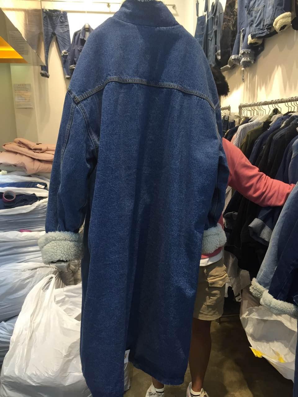 Automne De Base Jeans Bomber Manteau Coupe Style vent Vestes Denim Gigi Femmes Dames Chaud Ciel pu Bleu Hiver Femme D'hiver Long BwxqEAP7