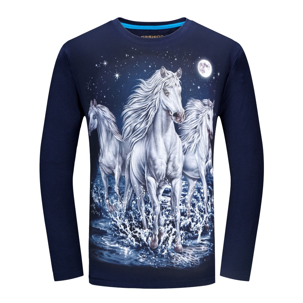 Long Sleeve T Shirt Men Brand 3d Animal Print T Shirts 4xl