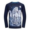 Manga larga Camiseta Hombres de Marca Animal Print 3D Camisetas 4XL 5XL 6XL Más El Tamaño de La Camiseta Del Tigre Serpiente Caballo Lobo Tee Shirt Homme T419