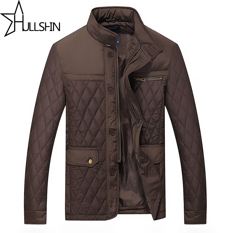 Hullshin  New mens classic coats jackets casual slim fit sewing cotton-padding quilted stand collar warm autumn jacket HSD0013