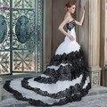 2015 lindo querida caiu cintura vestido de noiva com branco e preto ERW007