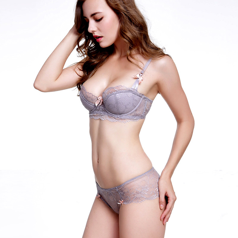 Fashion Lace Sexy Bra Sets Thin Cotton Women Underwear set Plus Size C D Cup Gray Lingerie Set Embroidery Comfortable brassiere