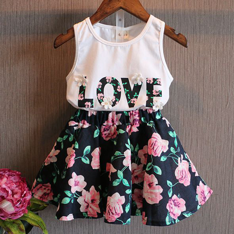 Flower Girls Children Clothing Sets Love Letter Sleeveless Tops Vest Floral Skirts 2PCS Outfit Summer Kids Clothes 2-7T Suit D35 new fashion girls clothing kids clothes summer style sleeveless tops pants 2 pcs casual children suit 3 4 5 6 7 years