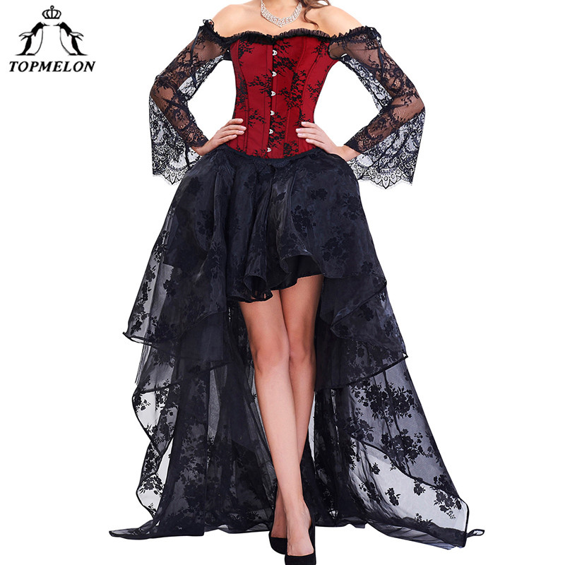 TOPMELON Steampunk Corset Dress Bustier Gothic Corselet Sexy Corsets Women Lace Off Shoulder Floral Party Hot Long Dresses