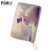FORUDESIGNS Cute Rabbit Print Women Credit Card ID Holder Case Mini Wallet For Cover Porte Carte Coin Pures Ladies Girl