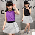 Children's clothing girls summer 2016 new suit children suit casual two-piece fitted sleeveless short skirt big virgin clothes