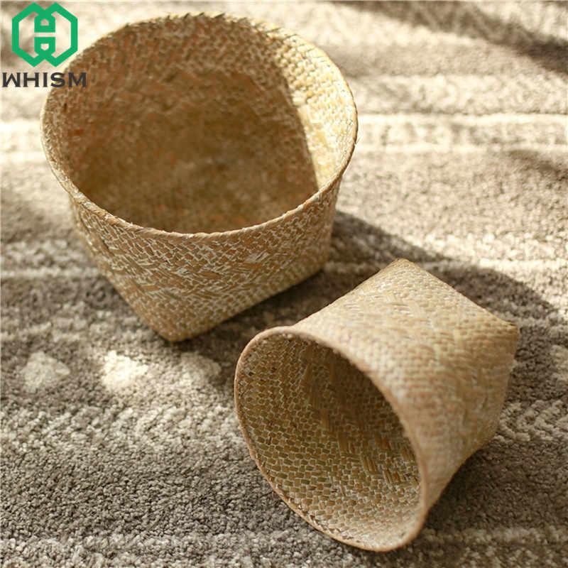 WHISM Natural Seagrass Cesto de Armazenamento Handmade Woven Organizador Sundries Rattan Vaso de Flores Cesta de Vime Cesto de roupa Suja
