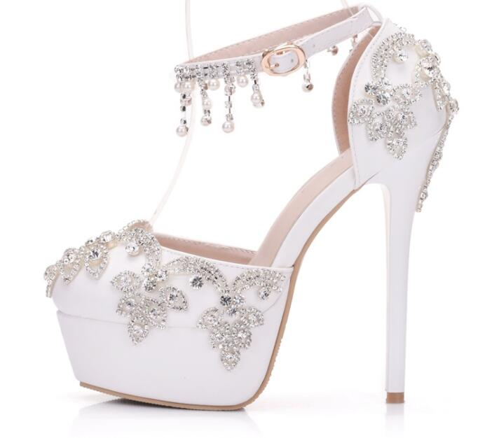 Women Wedding Shoes White Lace Flowers Crystal Party Pearl Pumps Round Toe Super High Heel Sweet