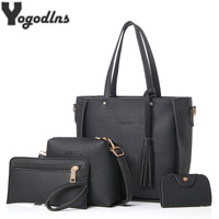 Bag Set For Women Top Handle Big Capacity Female Tassel Handbag Fashion Shoulder Bag Purse Ladies