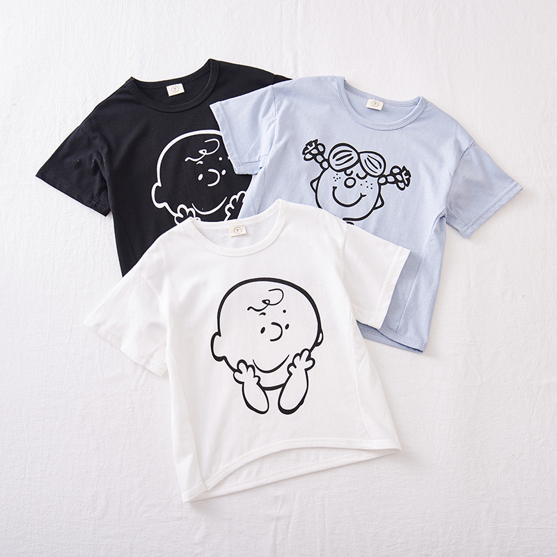 Children's Wear 2019 Summer Clothes Girl And Boy Cute Cartoon Short Sleeve T-shirt(China)